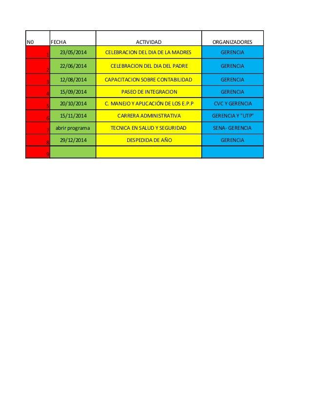 N0  FECHA  ACTIVIDAD  ORGANIZADORES  1  23/05/2014  CELEBRACION DEL DIA DE LA MADRES  GERENCIA  2  22/06/2014  CELEBRACION...