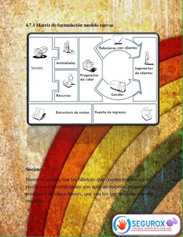 4.7.1 Matriz de formulación modelo canvas  Socios:  Nuestros socios, son las fábricas que construyen nuestros  productos e...