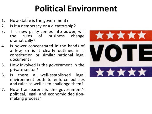 political and lega environments facing buiness Course information political and legal environment of business for many businesses, non-market forces are as significant as market factors: the interaction between government institutions, elected officials, policy-oriented activists and ngos shape the legal environment for firms in ways that have direct implications for their bottom line.