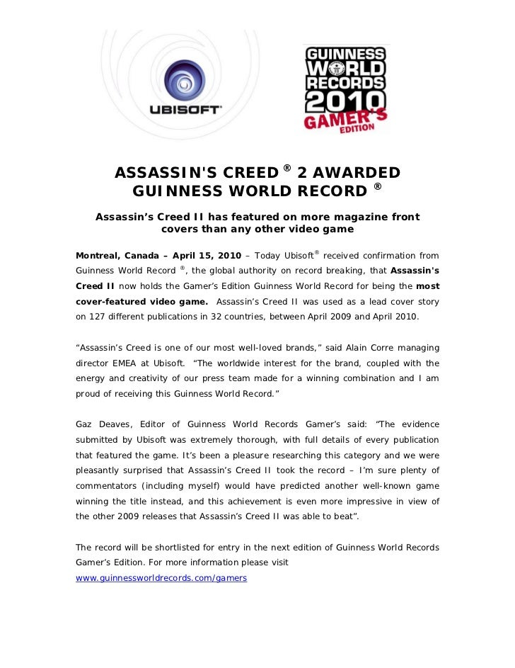 ASSASSINS CREED ® 2 AWARDED           GUINNESS WORLD RECORD ®    Assassin's Creed II has featured on more magazine front  ...