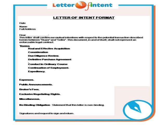 Letter Of Intent Format