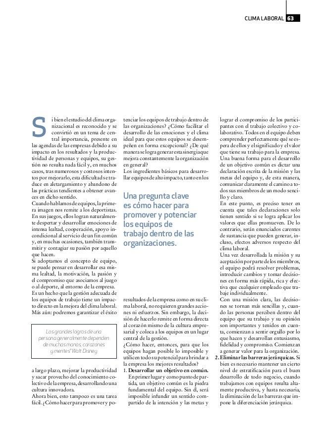 ibienelestudiodelclimaorga- nizacional es reconocido y se convirtió en un tema de cen- tral importancia, presente en las a...