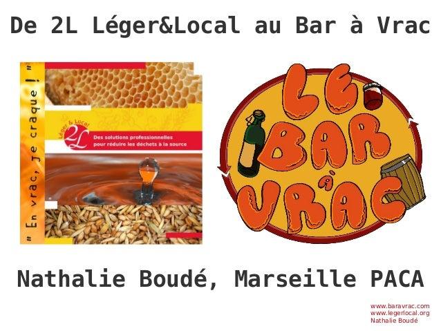 De 2L Léger&Local au Bar à Vrac www.baravrac.com www.legerlocal.org Nathalie Boudé Nathalie Boudé, Marseille PACA