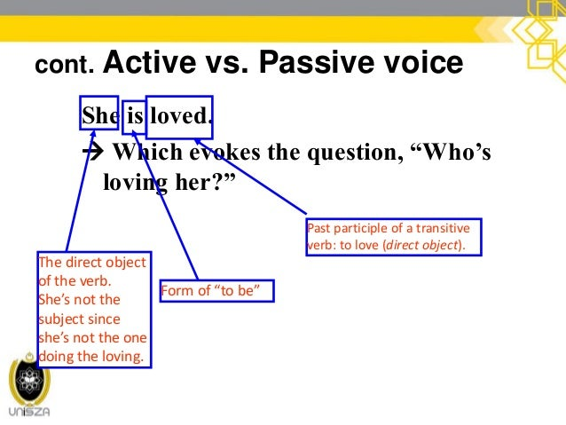 cont. Active vs. Passive voice President Kennedy was shot in 1963. Past participle of a transitive verb: to shoot (direct ...