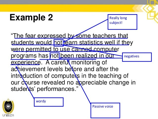 """cont. Example 2 """"The fear expressed by some teachers that students would not learn statistics well if they were permitted ..."""
