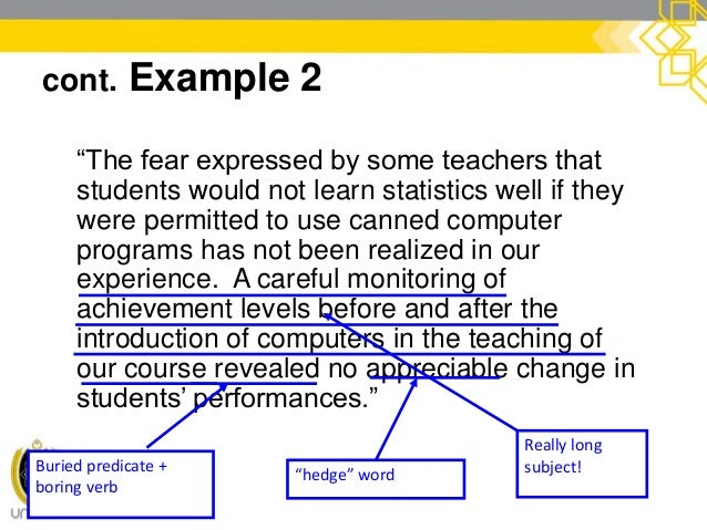 """cont. Example 2  """"Many teachers feared that the use of canned computer programs would prevent students from learning stat..."""