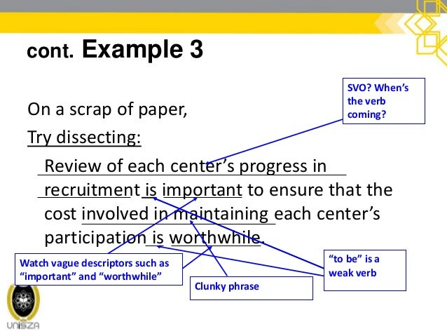 cont. Example 3 One possible rewrite: Reviewing center recruitment progress ensures cost-effectiveness.