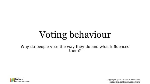 Copyright © 2015 Active Education peped.org/politicalinvestigations Voting behaviour Why do people vote the way they do an...