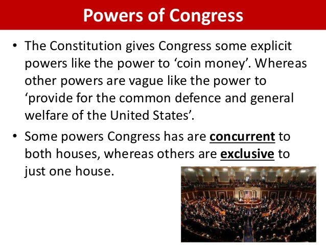 an analysis of the specific powers to congress in the united states constitution There are certain parts were the constitution is specific  powers of the united states congress as  constitution essay on utopia - constitution.