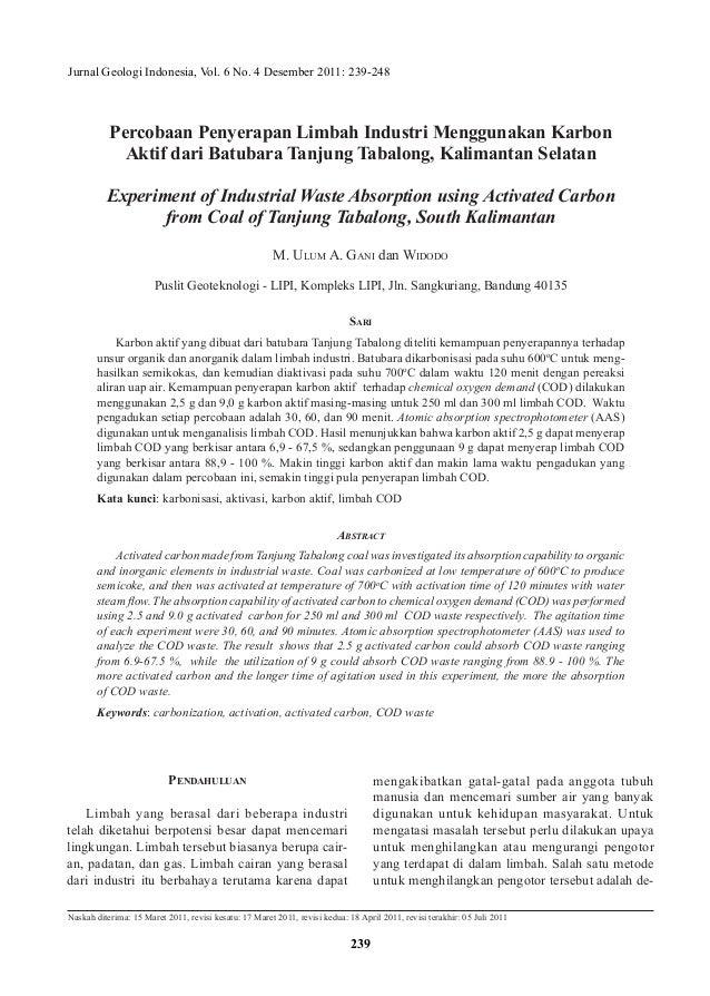 Jurnal Geologi Indonesia, Vol. 6 No. 4 Desember 2011: 239-248 Naskah diterima: 15 Maret 2011, revisi kesatu: 17 Maret 2011...