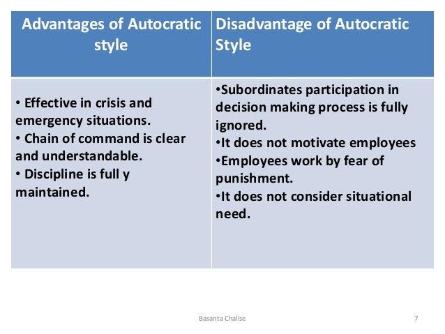 advantages and disadvantages of autocratic and democratic leadership