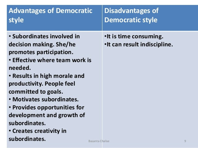 advantages of democratic leadership style Also called the participative style, the democratic leadership style is important in the decision making process read more to learn how you can incorporate the style.