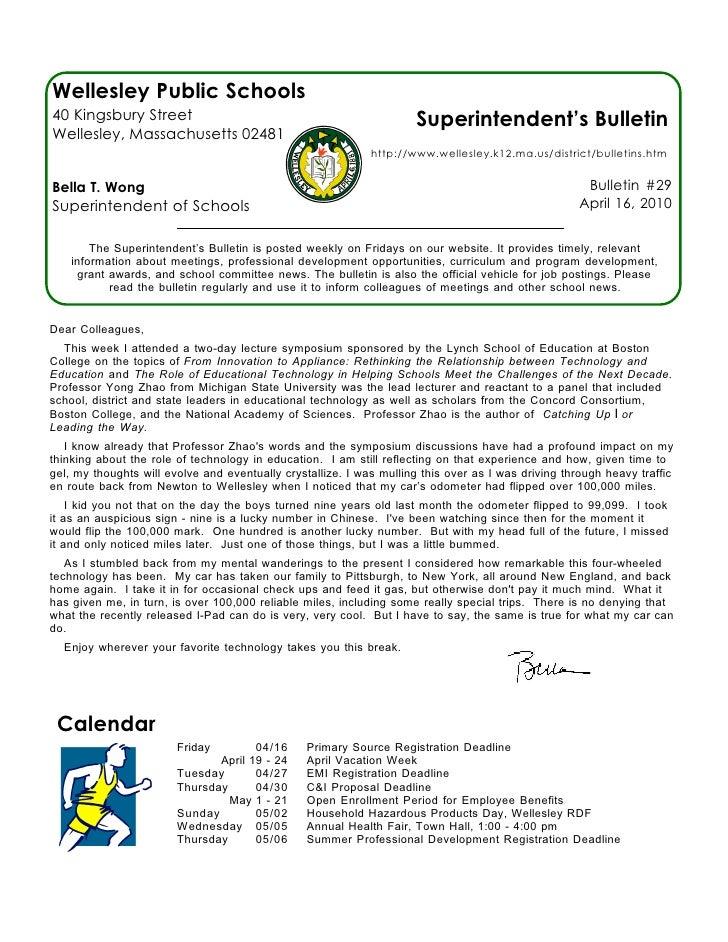 Wellesley Public Schools 40 Kingsbury Street                                                  Superintendent's Bulletin We...