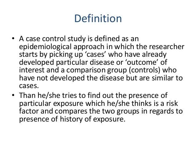 Retrospective Study: Case-Control and Case-Series ...