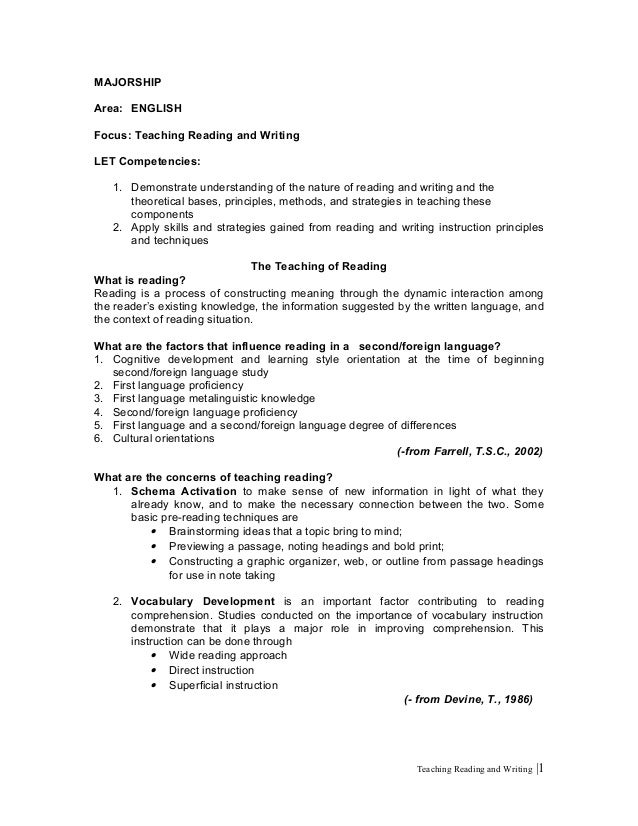 Teaching reading and writing 4 of 16 majorship area english focus teaching reading and writing let competencies 1 malvernweather Gallery