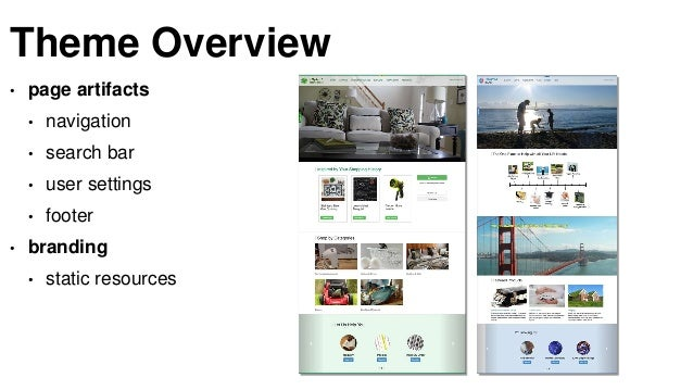 Theme Overview • page artifacts • navigation • search bar • user settings • footer • branding • static resources
