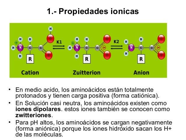 Curva de valoración de la glicina El pH controla la carga de la glicina: catiónica por debajo de pH = 2.3; aniónica por en...
