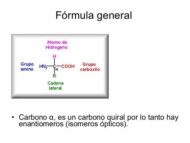 Fórmula general • Carbono α, es un carbono quiral por lo tanto hay enantiomeros (isomeros ópticos).