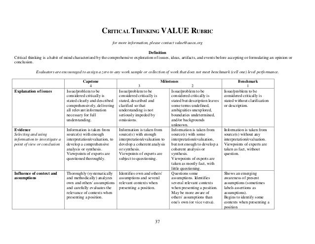 Critical thinking rubric elementary students