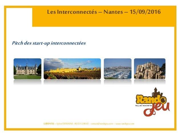 Les Interconnectés– Nantes – 15/09/2016 LUDENTIS – SylvieDEFRASNE: 06.03.12.90.03 - contact@randojeu.com– www.randojeu.com...