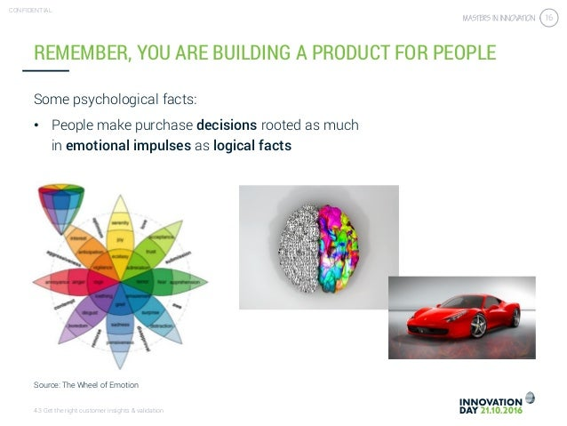 4.3 Get the right customer insights & validation CONFIDENTIAL 16 REMEMBER, YOU ARE BUILDING A PRODUCT FOR PEOPLE Some psyc...
