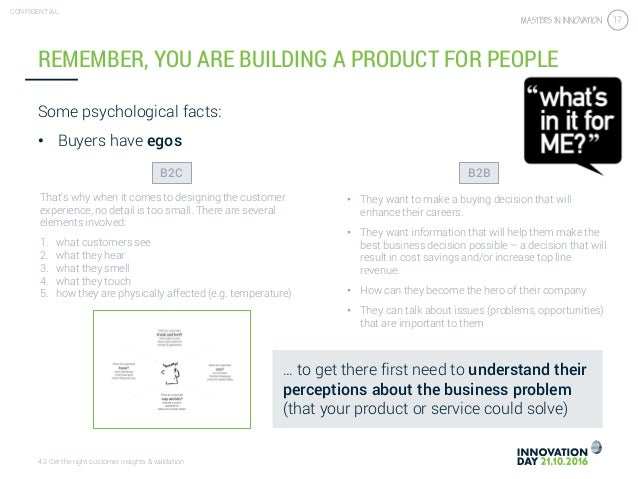 4.3 Get the right customer insights & validation CONFIDENTIAL 17 REMEMBER, YOU ARE BUILDING A PRODUCT FOR PEOPLE Some psyc...