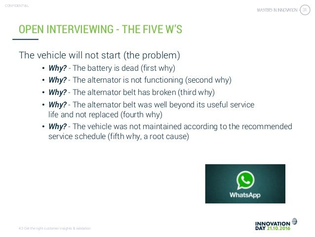 4.3 Get the right customer insights & validation CONFIDENTIAL 31 The vehicle will not start (the problem) • Why? - The bat...