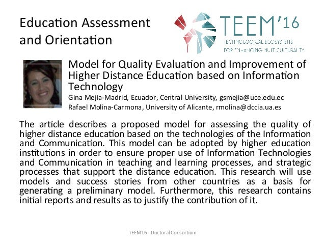 Educa,onAssessment andOrienta,on ModelforQualityEvalua,onandImprovementof HigherDistanceEduca,onbasedonInf...