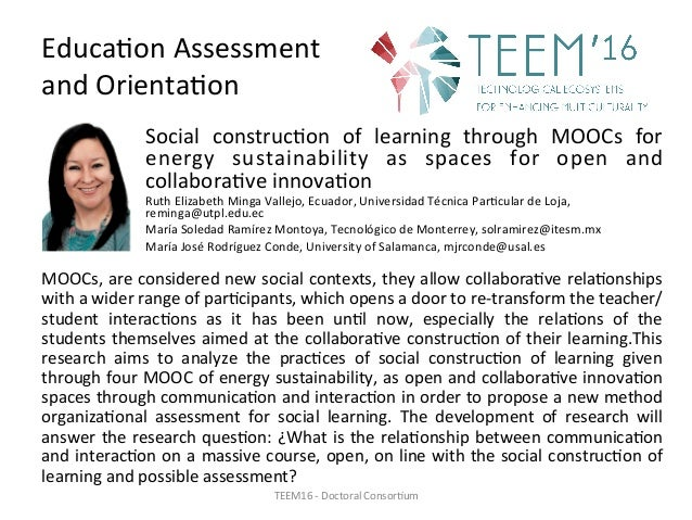 Educa,onAssessment andOrienta,on Social construc,on of learning through MOOCs for energy sustainability as s...