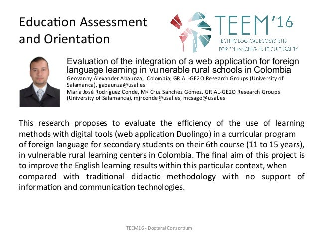 Educa,onAssessment andOrienta,on Evaluation of the integration of a web application for foreign language learning in v...