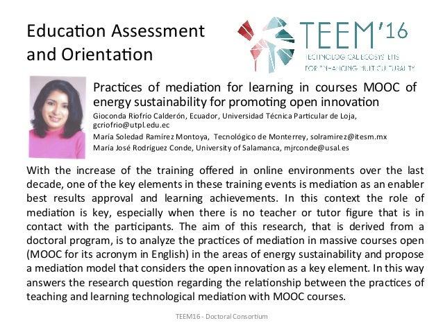 Prac,ces of media,on for learning in courses MOOC of energysustainabilityforpromo,ngopeninnova,on Gioconda...