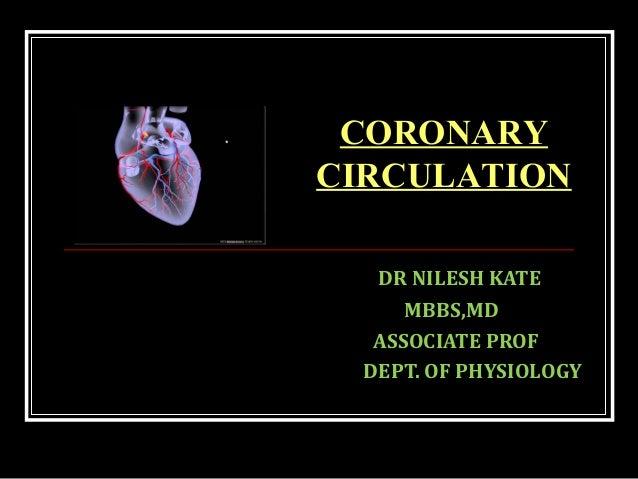 DR NILESH KATE MBBS,MD ASSOCIATE PROF DEPT. OF PHYSIOLOGY CORONARY CIRCULATION