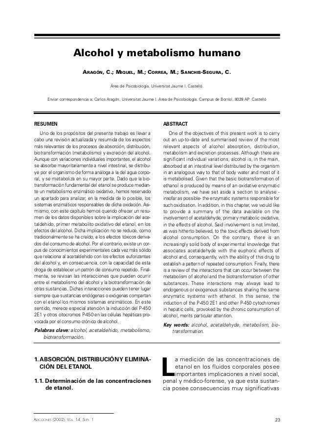 1. ABSORCIÓN, DISTRIBUCIÓNY ELIMINA- CIÓN DEL ETANOL 1.1. Determinación de las concentraciones de etanol. L a medición de ...