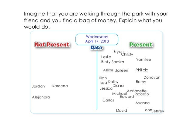 Imagine that you are walking through the park with yourfriend and you find a bag of money. Explain what youwould do.      ...