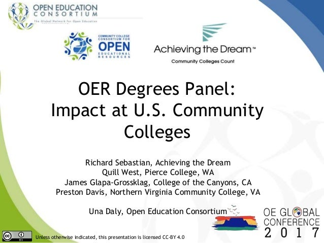 OER Degrees Panel: Impact at U.S. Community Colleges Richard Sebastian, Achieving the Dream Quill West, Pierce College, WA...
