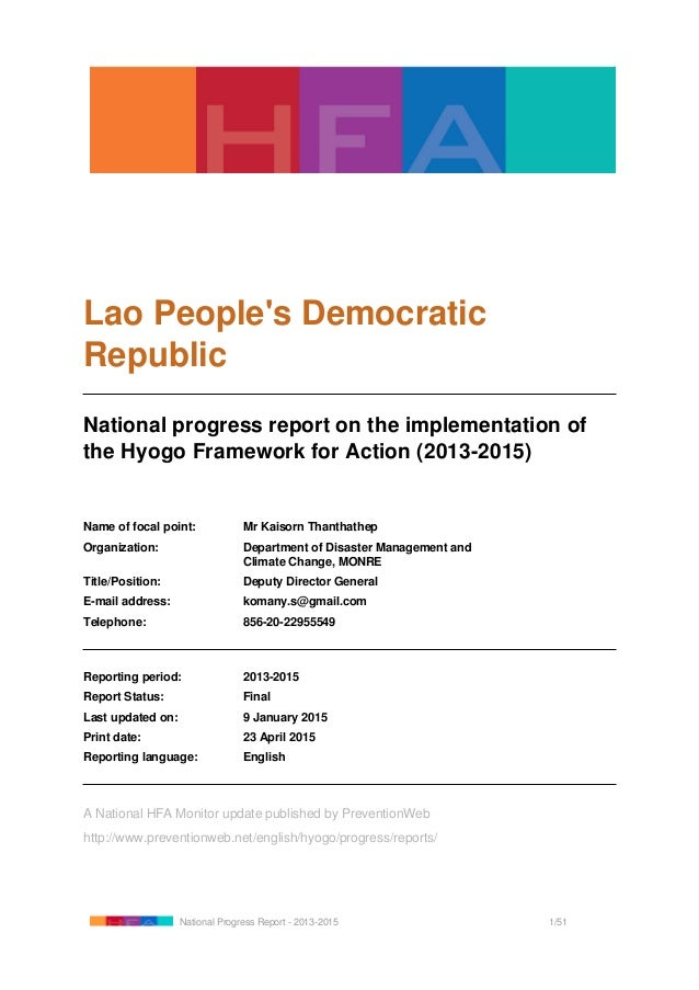 Lao People's Democratic Republic National progress report on the implementation of the Hyogo Framework for Action (2013-20...
