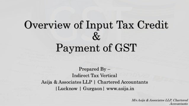 Overview of input tax credit