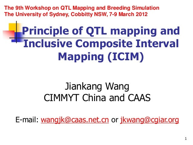 1 Principle of QTL mapping and Inclusive Composite Interval Mapping (ICIM) Jiankang Wang CIMMYT China and CAAS E-mail: wan...