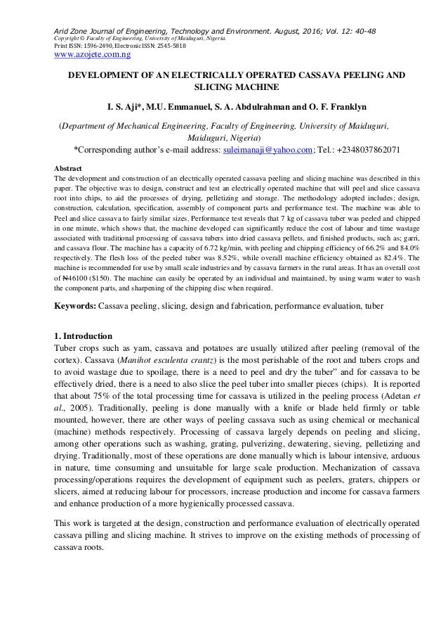 Development of an Electrically Operated Cassava Peeling and