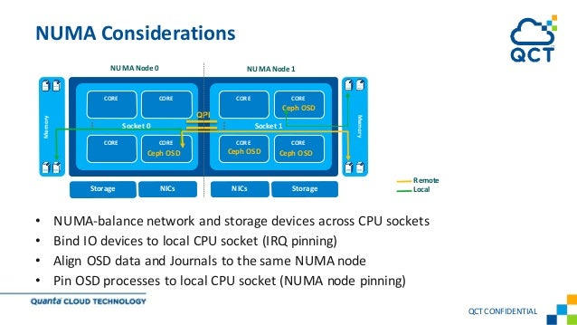 • NUMA-balance network and storage devices across CPU sockets • Bind IO devices to local CPU socket (IRQ pinning) • Align ...
