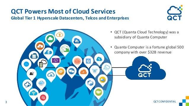 QCT Powers Most of Cloud Services Global Tier 1 Hyperscale Datacenters, Telcos and Enterprises 3 QCTCONFIDENTIAL • QCT (Qu...