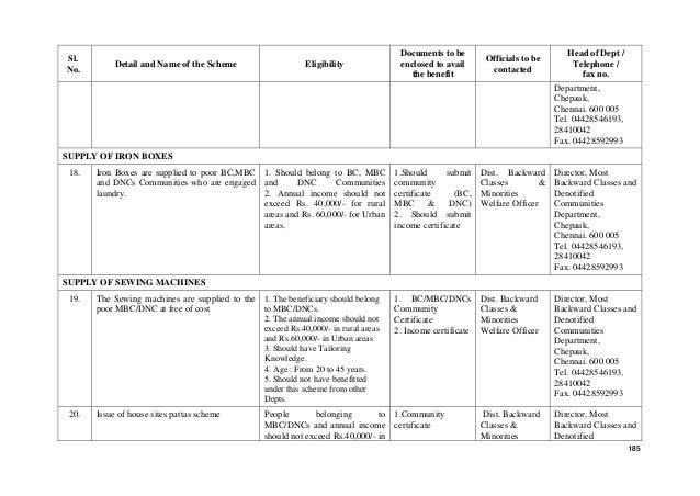 Tamil Nadu Government Welfare Schemes 2017
