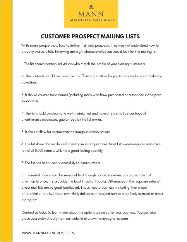 Commercial Printing & Signage Customer Prospect Mailing Lists
