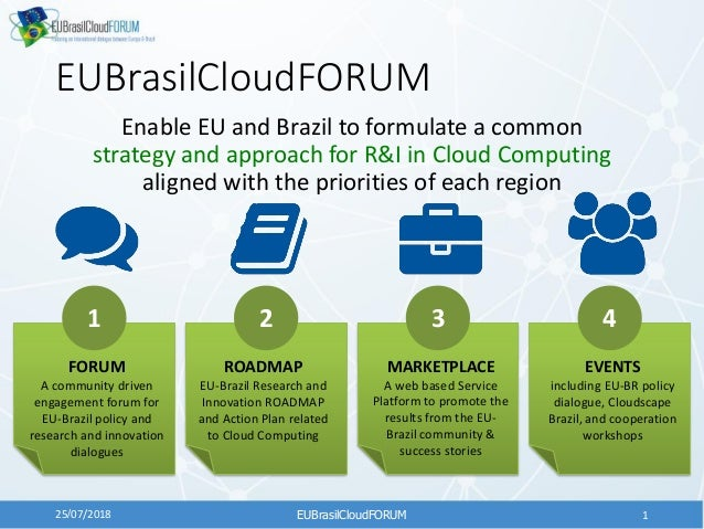 EUBrasilCloudFORUM Enable EU and Brazil to formulate a common strategy and approach for R&I in Cloud Computing aligned wit...