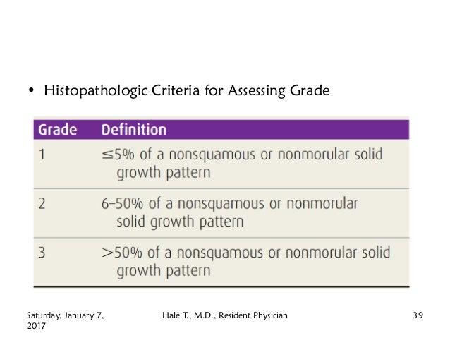 • Histopathologic Criteria for Assessing Grade Saturday, January 7, 2017 Hale T., M.D., Resident Physician 39
