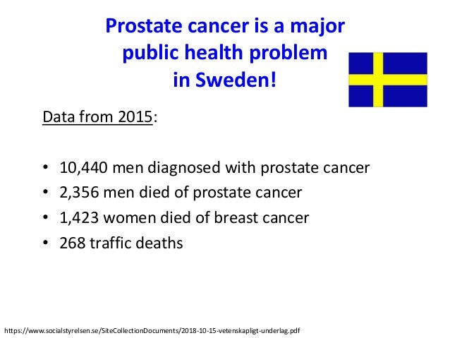 Prostate cancer is a major public health problem in Sweden! Data from 2015: • 10,440 men diagnosed with prostate cancer • ...