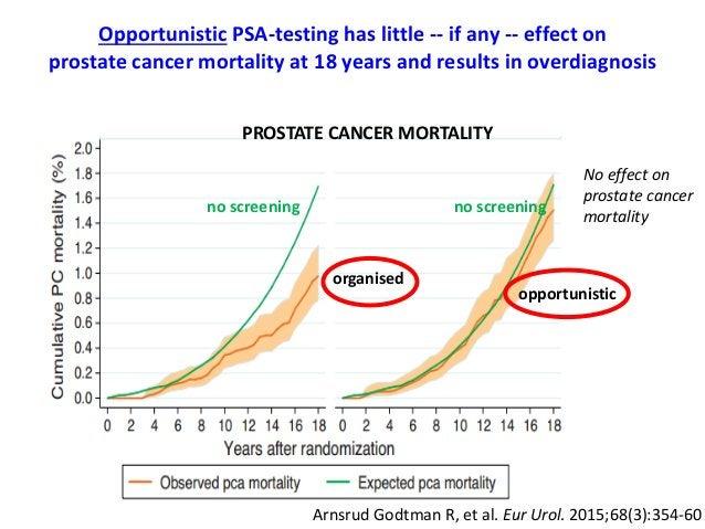 No effect on prostate cancer mortality opportunistic organised PROSTATE CANCER MORTALITY no screeningno screening Opportun...