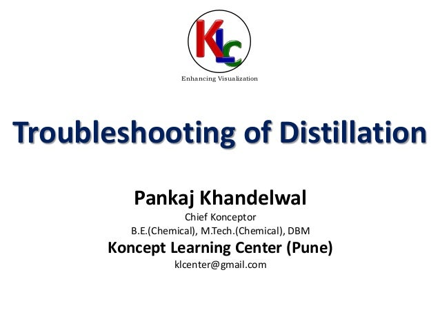 Troubleshooting of Distillation Pankaj Khandelwal Chief Konceptor B.E.(Chemical), M.Tech.(Chemical), DBM Koncept Learning ...