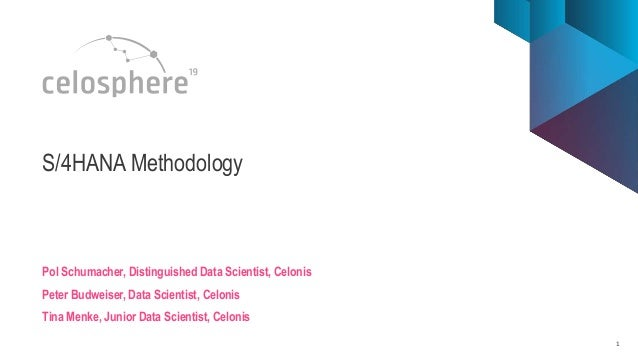 1 S/4HANA Methodology Pol Schumacher, Distinguished Data Scientist, Celonis Peter Budweiser, Data Scientist, Celonis Tina ...