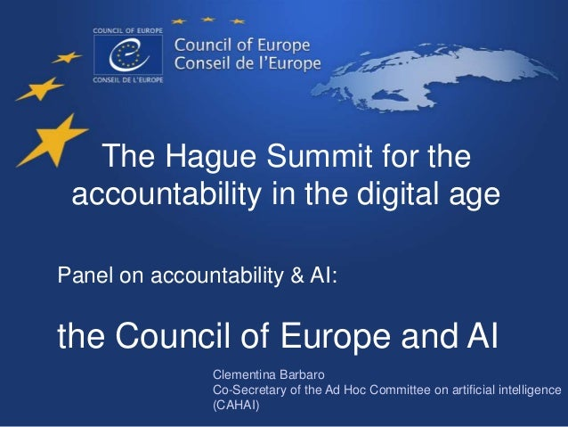 The Hague Summit for the accountability in the digital age Panel on accountability & AI: the Council of Europe and AI Clem...